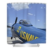 Rear View Of A F8f Bearcat Parked Shower Curtain