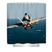 Rear View Of An Fa-18c Hornet Taking Shower Curtain