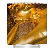 Reclining Buddha At Wat Pho, Low Angle Shower Curtain