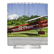 Red 1923 Fokker Civa Vintage Biplane Photo Poster Print Shower Curtain