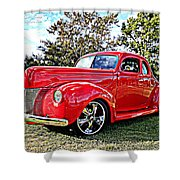 Red 1940 Ford Deluxe Coupe Shower Curtain