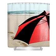 Red And Black Umbrella On The Beach With Footprints Shower Curtain