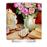 Red And Pink Roses And Daisies - The Doves Of Peace-angels And The Bible Shower Curtain