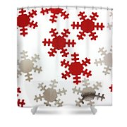 Red And Silver Snowflakes Shower Curtain