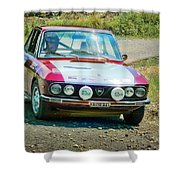 Red And White Lancia Shower Curtain