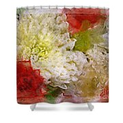 Red And White Mums Photoart Shower Curtain