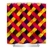 Red And Yellow Basketweave Bias Shower Curtain