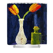 Red And Yellow Tulips In Vase Abstract Palette Knife Painting Shower Curtain