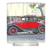 Red Antique Rumble Seater Shower Curtain