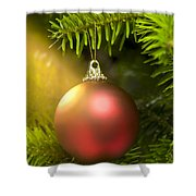 Red Ball In A Real Caucasian Fir Christmas Tree Shower Curtain