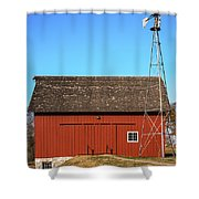 Red Barn And Windmill Shower Curtain