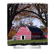 Red Barn In Autumn Shower Curtain