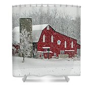 Red Barn In Heavy Snow Shower Curtain