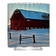 Red Barn In Winter ... Shower Curtain