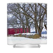 Red Barn In Winter With Hay Bales Shower Curtain