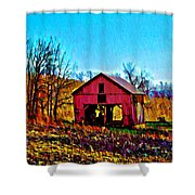 Red Barn On A Hillside Shower Curtain