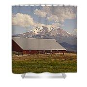 Red Barn Under Mount Shasta Shower Curtain