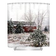Michigan Red Barn Winter Scene Snow Landscape Shower Curtain
