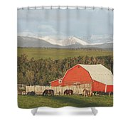 Red Barn With Horses Grazing Shower Curtain by Michael Interisano