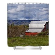 Red Barn With Tin Roof Shower Curtain
