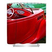 Red Beautiful Car Shower Curtain
