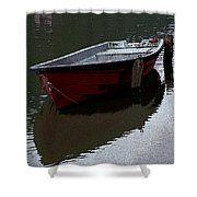 Red Boat In A Canal In The Netherlands Shower Curtain