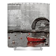 Red Boat In The Harbor At Vernazza Shower Curtain