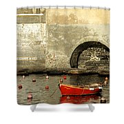 Red Boat In Vernazza Harbor On The Cinque Terre Shower Curtain