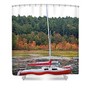 Red Boat Reflection Shower Curtain