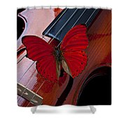 Red Butterfly On Violin Shower Curtain