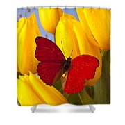 Red Butterful On Yellow Tulips Shower Curtain
