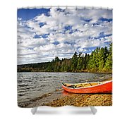 Red Canoe On Lake Shore Shower Curtain