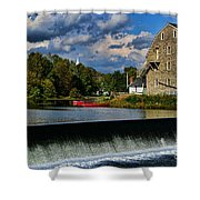 Red Canoes At The Boathouse Shower Curtain by Paul Ward
