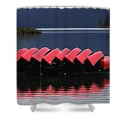 Red Canoes Maligne Lake Shower Curtain