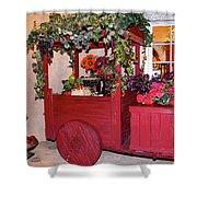 Red Cart Of Flowers Shower Curtain
