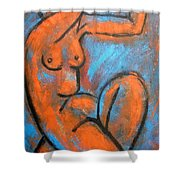 Red Caryatid - Nudes Gallery Shower Curtain
