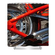Red Chopper Detail Shower Curtain