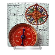 Red Compass And Rose Compass Shower Curtain