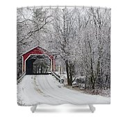 Red Covered Bridge In The Winter Shower Curtain