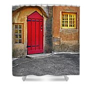 Red Door And Yellow Windows Shower Curtain