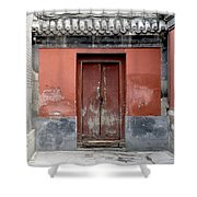 Red Door In Beijing Shower Curtain by Glennis Siverson