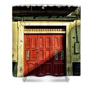 Red Door In Half Shadow Shower Curtain