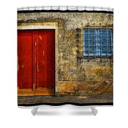 Red Doors Shower Curtain by Mauro Celotti
