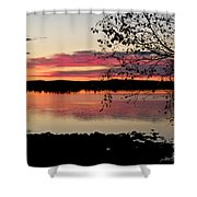 Red Evening Sky Shower Curtain