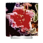 Red Flower With Frost Shower Curtain