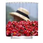 Red Flowers And Straw Hat Shower Curtain
