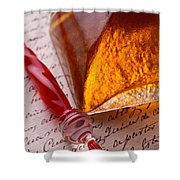 Red Glass Pen  Shower Curtain