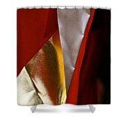 Red Gold And White Shower Curtain