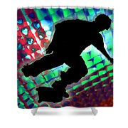 Red Green And Blue Abstract Boxes Skateboarder Shower Curtain