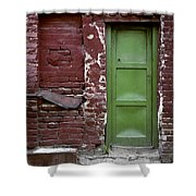 Red Green Facade. Belgrade. Serbia Shower Curtain